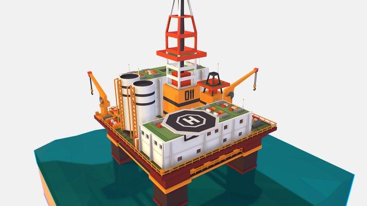 isometric Big Oil Production Rig Platform 3D Model