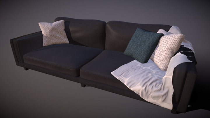Cade Leather Designer Couch 3D Model