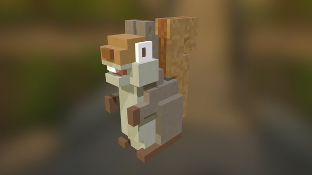 Voxel Squirrel 3D Model