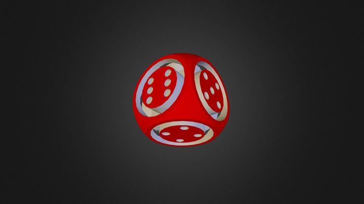 Floating Face Dice 3D Model