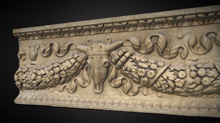 Relieve con decoración de guirnaldas y bucráneo 3D Model