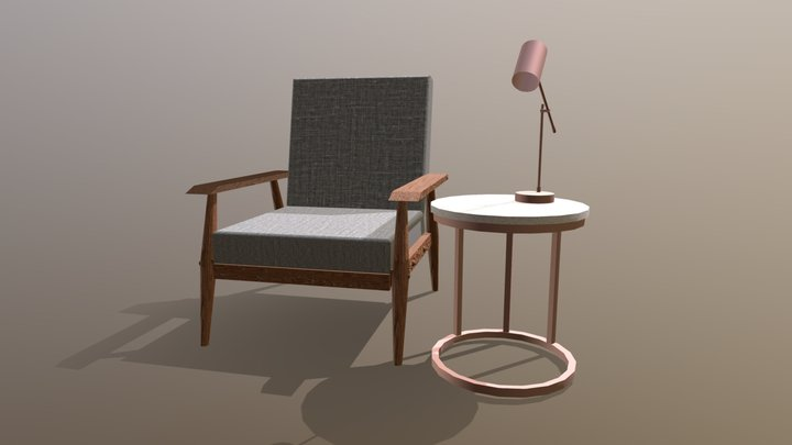 Chair, table and lamp 3D Model