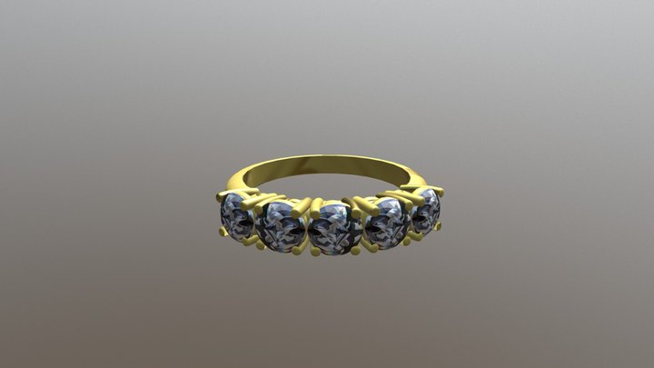 Gold Engagement Ring - 04GG76 3D Model