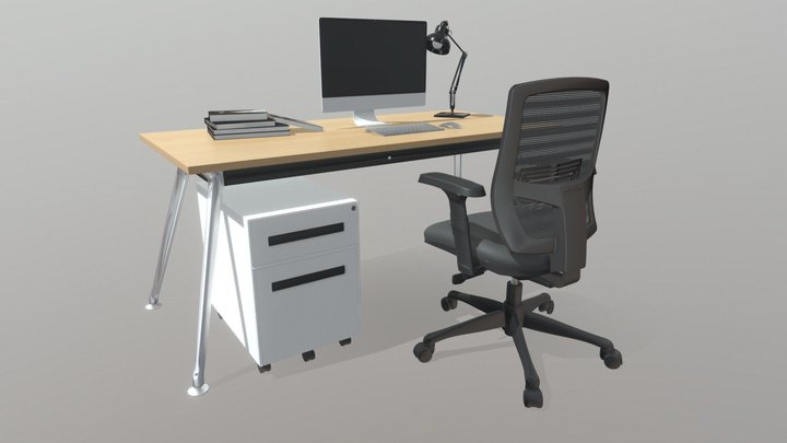 SanFran Executive Desk Chrome Legs 3D Model