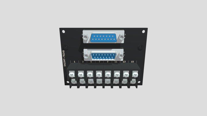 コネクタ端子台変換ユニット(2列D-sub15オス/メス⇔端子台):DINレール取付け 3D Model