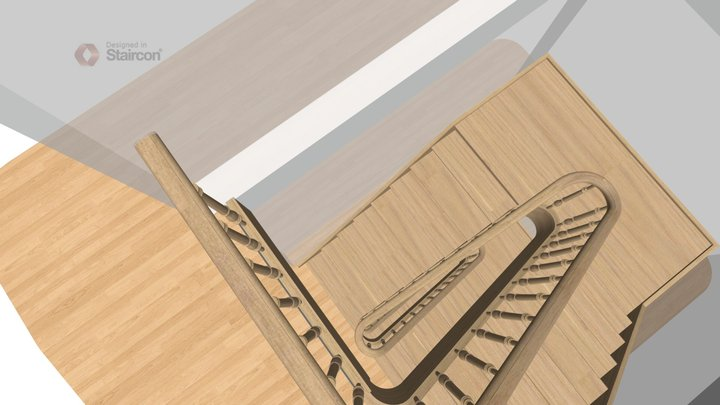 Stair with landings and continuous handrail 3D Model