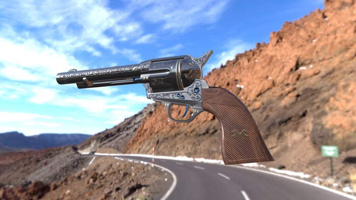 SAA Revolver-Engraved Style(high poly) 3D Model