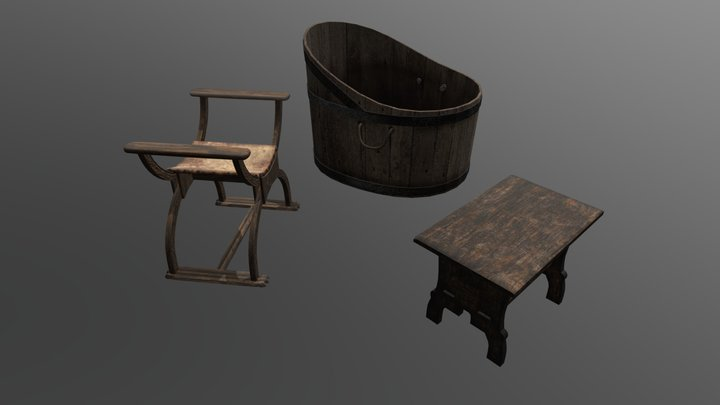 Furniture from the Castle Anthrax 3D Model