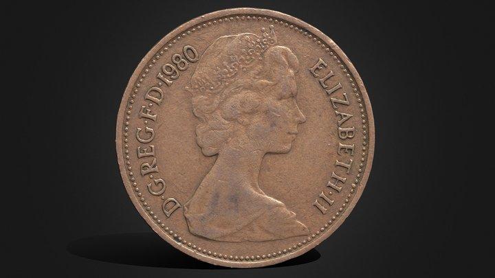 2 Pence - Elizabeth II  (1980) .::RAWscan::. 3D Model