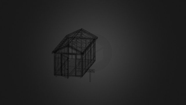 8x18 Gable End Door 3D Model