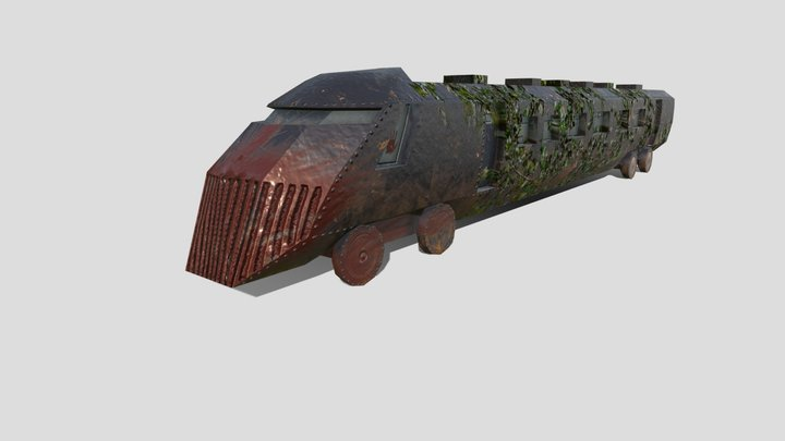 Apocalyptic train (Low poly) 3D Model