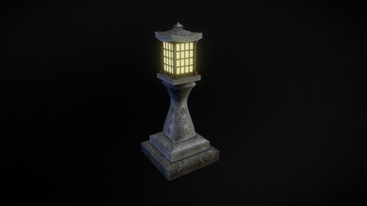 Japanese Stone Lantern 3D Model