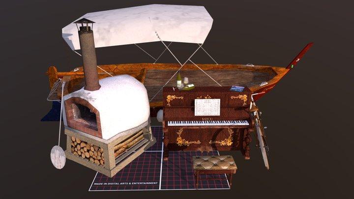 1DAE: Q-week, 5 finished props 3D Model