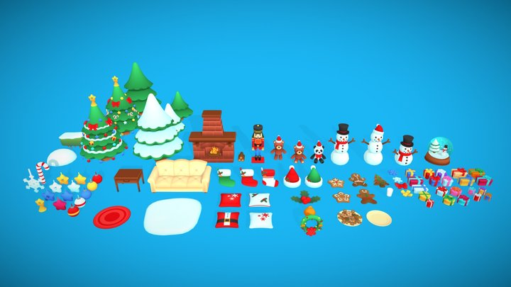 Christmas Toon Assets 3D Model