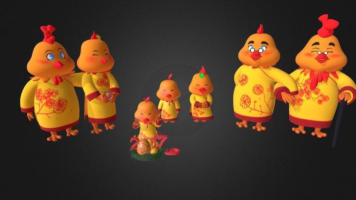 Family Chicken 3D Model