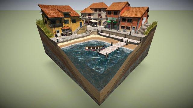 Cudillero Diorama Bake 3D Model