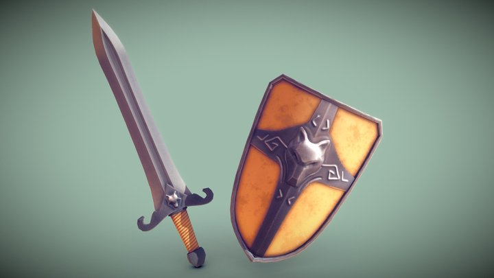 Stylized Sword And Shield (lowpoly) 3D Model