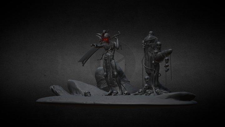 Ghost Warrior OBJ,FBX,STL & BLEND 3D Model
