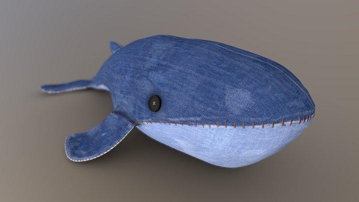 Denim Whale Plush 3D Model