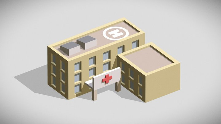 [Low Poly] Hospital 3D Model