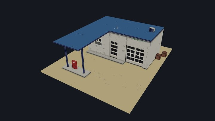 Low Poly Gas Station 3D Model
