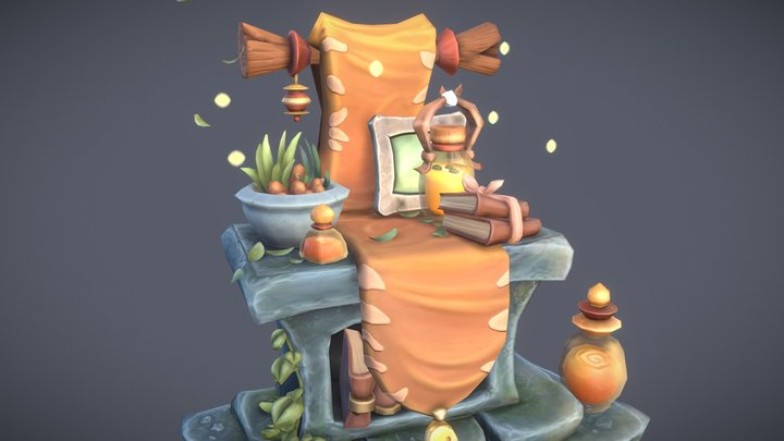 Herbalists Table 3D Model