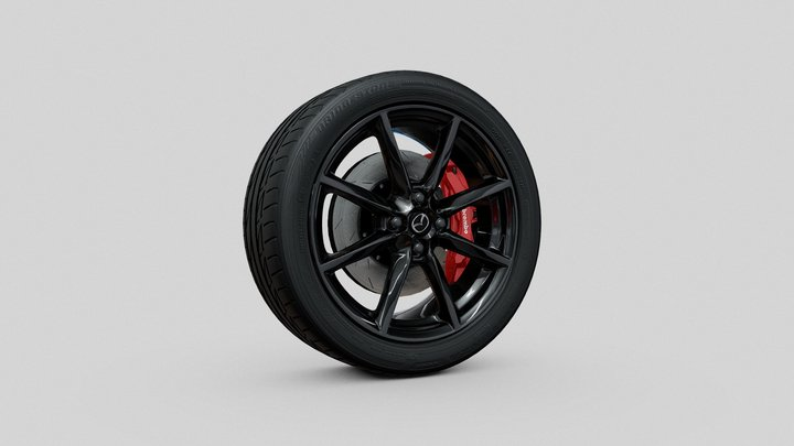 Mazda Miata MX-5 Rim & Bridgestone Potenza R17 3D Model