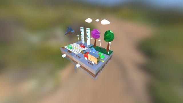 Low Poly Futuristic 3D Model