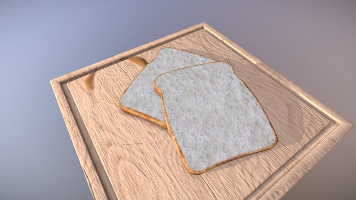Realistic Bread and Wooden Board 3D Model