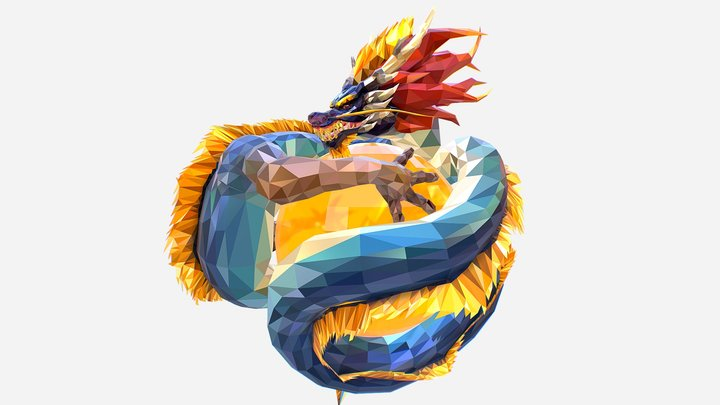 Dragon Low Polygon Art 3D Model
