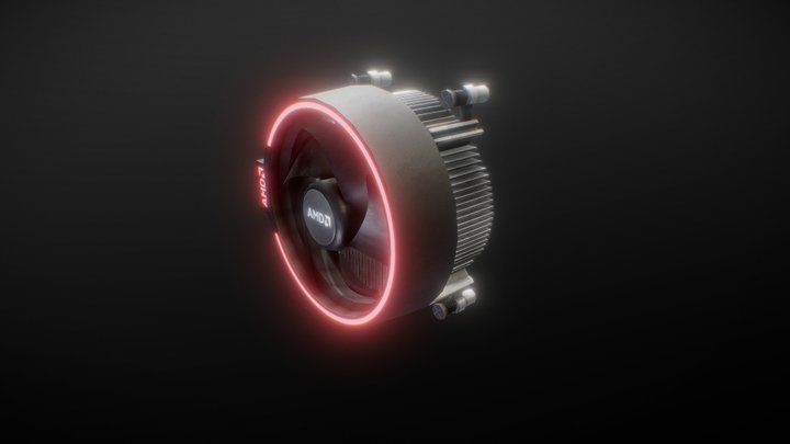 AMD Ryzen CPU Cooler - Low Poly 3D Model