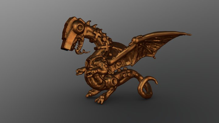 Cybernetic Dragon Bronze 3D Model