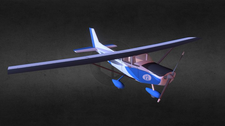 Cessna 172Kr (with cockpit) (ver III) 3D Model