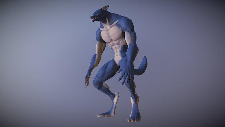 Werewolf Hand Painted 3D Model