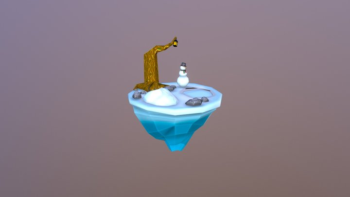 Floating Island Winter 3D Model