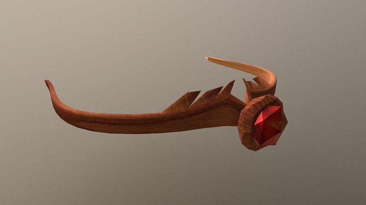 Simple Wooden Crown with Red Crystal 3D Model