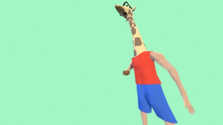 Giraffe Reconsiders Drink 3D Model