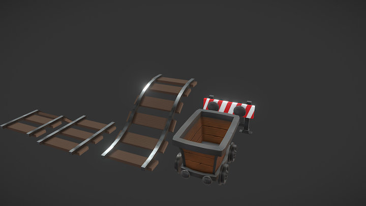 Hand Painted Minecart & Tracks 3D Model