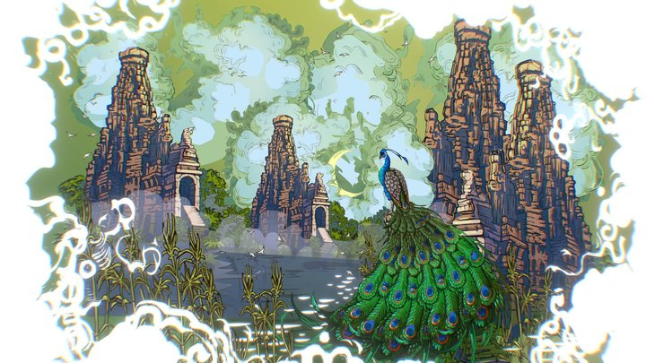 Animated Vector Paralax Landscape Asia Scene 3D Model