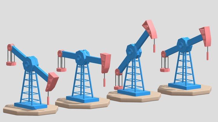 Cartoon Oil Pump Jack 3D Model