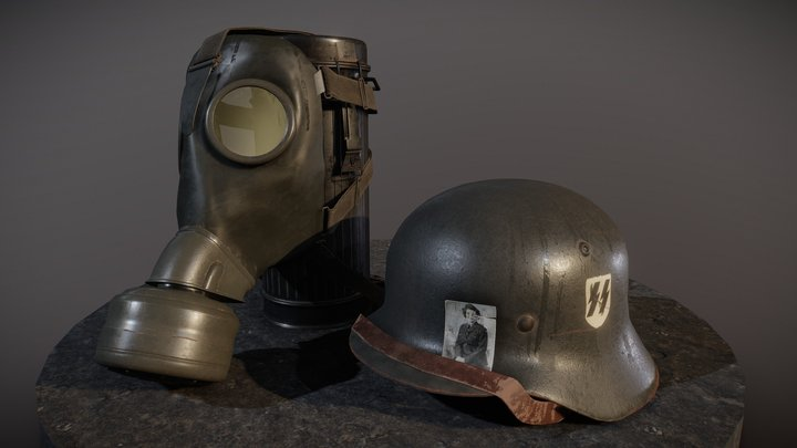 WWII German Helmet, Gasmask and Canister 3D Model