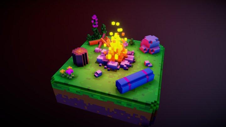 campfire at night 3D Model