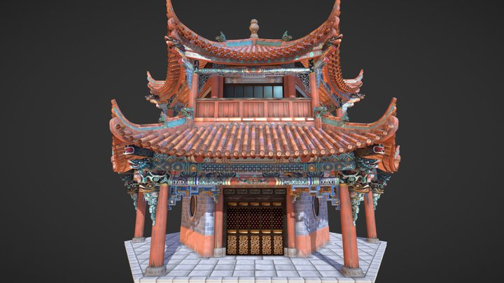 Chinese Temple Pagoda 3D Model