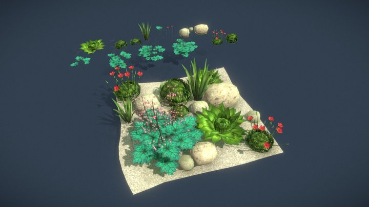 【Game Ready】 Bitbot Plants 3D Model