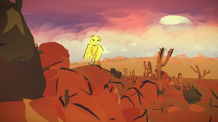 Owl in the desert - animation 3D Model