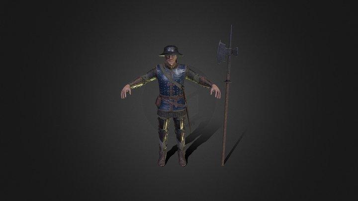 Medieval Infantry Man 3D Model