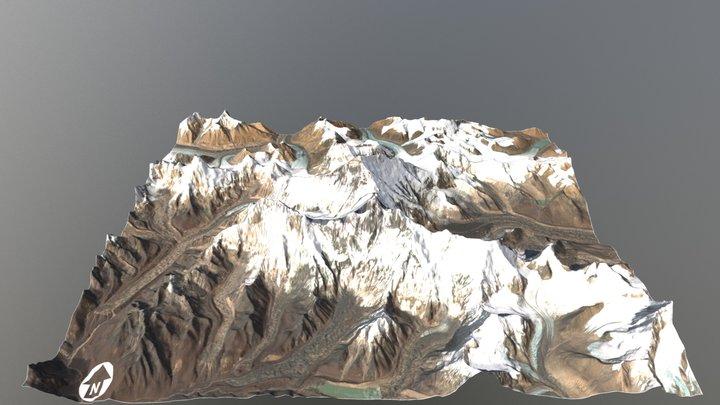 Mount Everest Region - Topographic Surface 3D Model
