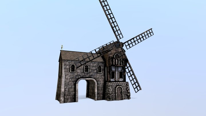 Medieval Mill House 3D Model