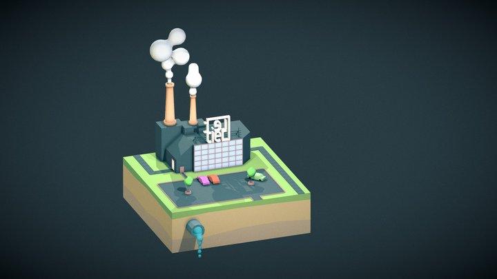 Low-poly Factory 3D Model