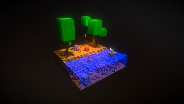 Lake Scene 01 3D Model